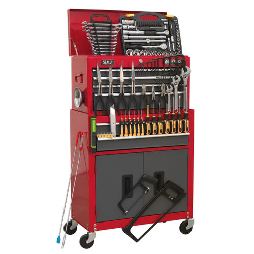 Sealey AP2200BBCOMBO Tool Chest Combination 6 Drawer With Ball Bearing Runners - Red/grey & 128 Piece Tool Kit
