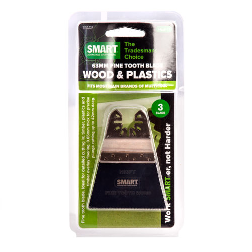 Smart H63FT3 Multi-Tool Blades Fine Tooth for Wood and Plastics 63mm (Pack of 3)