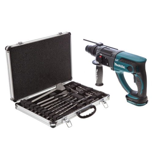 Makita DHR202Z 18V Cordless li-ion SDS+ Rotary Hammer Drill (Body Only) + D-21200 17 Piece Drill and Chisel Set