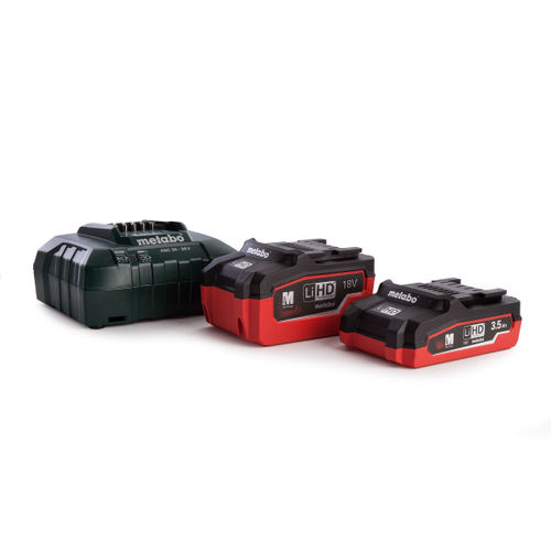 Metabo 685103000 Basic Set 1 x 18V LiHD 3.5Ah Battery & 1 x LiHD 5.5Ah Battery, 1 x ASC30-36 Fast Charger In MetaLoc Carry Case