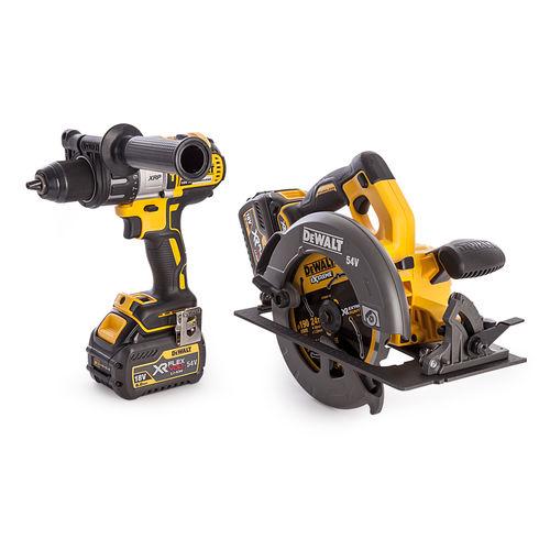 Dewalt DCK2056T2T-GB 18V DCD996 Hammer Drill Driver + DCS575 54V Flexvolt Circular Saw (2 x 6.0Ah Batteries)