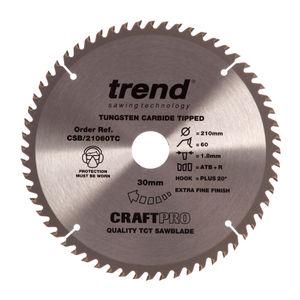 Trend CSB/21060TC CraftPro Saw Blade 210mm x 60 Teeth x 30mm