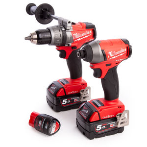 Milwaukee M18ONEPP2A-523X M18 ONE KEY Combi Drill + Impact Driver Twin Pack (2 x 5.0Ah + 1 x 2.0Ah Batteries)