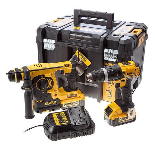 Dewalt DCK206M2T 18V DCD785 Combi Drill + DCH253 SDS Hammer Twinpack (2 x 4Ah Batteries) - Tstak Kitbox