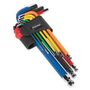 Sealey AK7190 Ball-end Hex Key Set Colour-coded Long Metric (9 Piece)