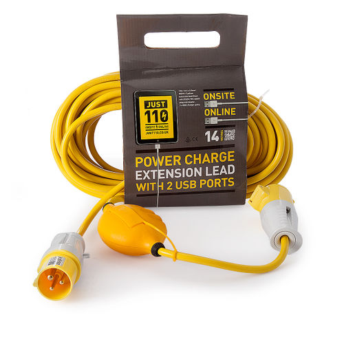 Just 110 JOT1002 Extension Lead 2.5mmï¾_ x 14m with USB Ports 16Amp 110V