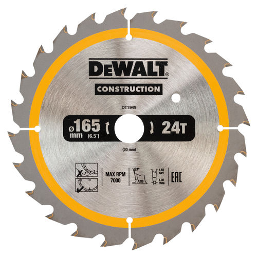 Dewalt DT1949 Construction Circular Saw Blade 165mm x 20mm x 24T