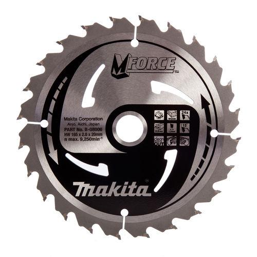 Makita B-08006 M Force Circular Saw Blade Medium Cut for Wood 165mm x 20mm x 24T
