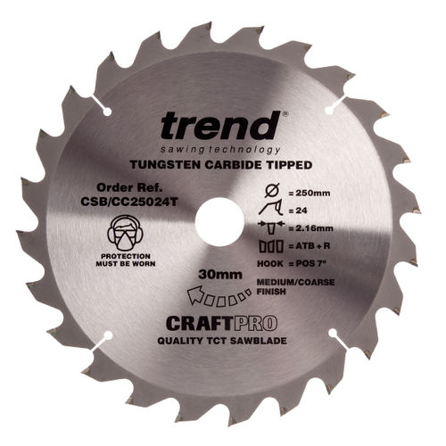 Trend CSB/CC25024T CraftPro Saw Blade Crosscut 250mm x 24 Teeth x 30mm