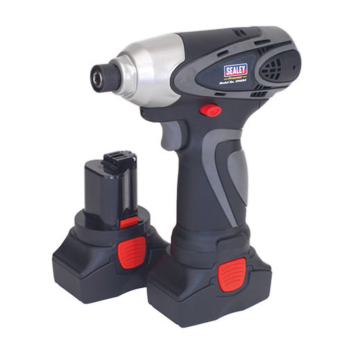 """Sealey CP6003 Cordless Impact Driver 14.4v 2ah Lithium-ion 1/4"""" Hex Drive 117nm - 2 Batteries 40min Charger"""