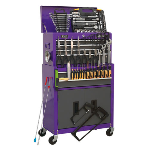 Sealey AP2200COMBOCP Topchest & Rollcab Combination 6 Drawer With Ball Bearing Slides (128 Piece) - Purple/Grey