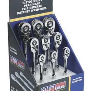 "Sealey AK6648DB Ratchet Wrenches 1/4"", 3/8"" & 1/2""sq Drive Display Box Of 9"