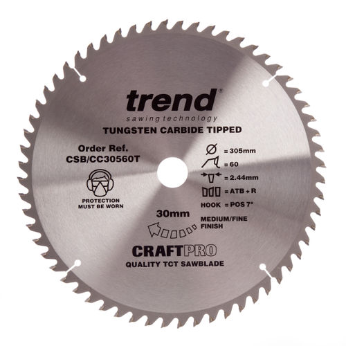 Trend CSB/CC30560T CraftPro Saw Blade Crosscut 305mm x 60 Teeth x 30mm