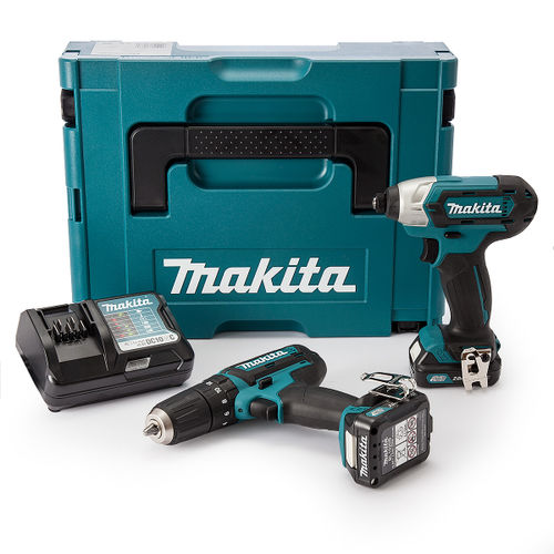 Makita CLX202AJ 10.8V CXT Twin Pack - HP331D Combi Drill + TD110D Impact Driver (2 x 2.0Ah Batteries)