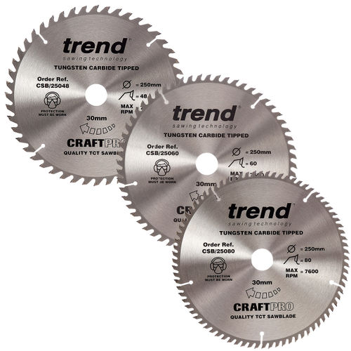 Trend 250mm Sawblade Triple Pack 48T, 60T and 80T