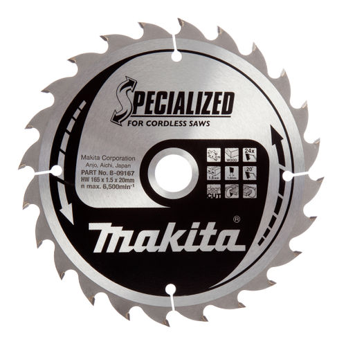 Makita B-09167 Specialized Circular Saw Blade for Cordless Saws 165 x 20 x 24 Tooth