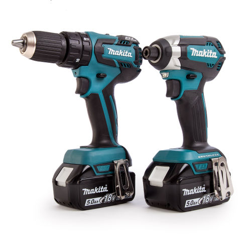 Makita DLX2173TJ 18V 2 Piece Cordless Brushless Kit (DHP459 Combi Drill and DTD153 Impact Driver) 2 x 5Ah Batteries