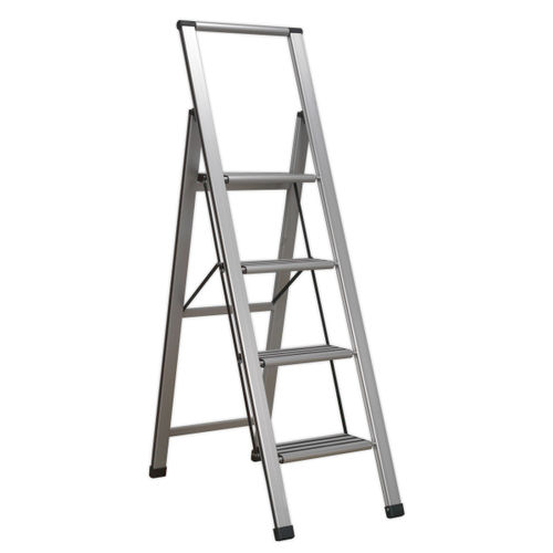 Sealey APSL4 Aluminium Professional Folding Step Ladder 4-step 150kg Capacity