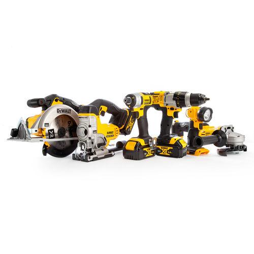 Dewalt DCK692M3 18V XR 6 Piece Kit - DCD985 Combi Drill, DCF885 Impact Driver, DCS391 Circular Saw, DCS331 Jigsaw, DCG412 Grinder & DCL040 Torch (3 x 4.0Ah Batteries) with 2 x TOUGHSYSTEM Boxes