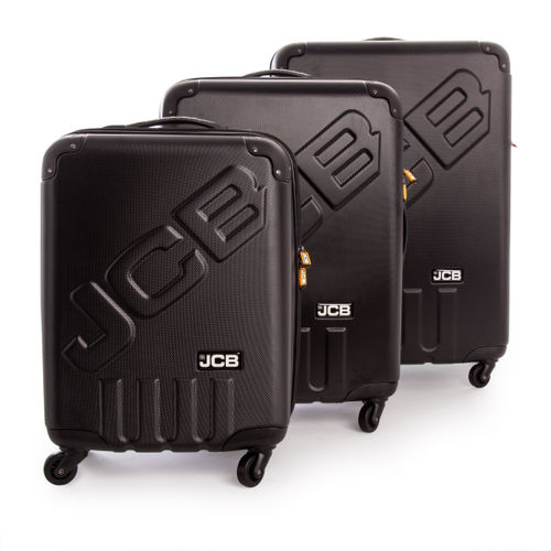 JCB 006 - 3 Piece ABS Luggage Set in Black 35.5 - 58.8 - 88.5 Litre