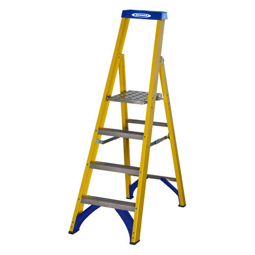 Werner 71704 Fibreglass Platform Stepladder Trade 4 Tread (0.94m)