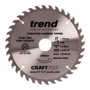 Trend CSB/19036TC CraftPro Saw Blade 190mm x 36 Teeth x 30mm