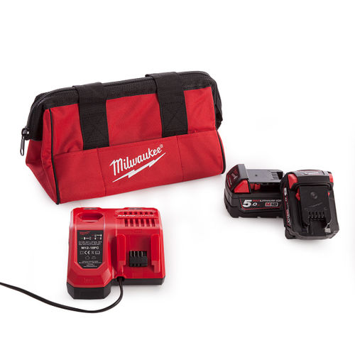 Milwaukee 2 x M18B5 Batteries, M12-18FC Rapid Fast Charger and Milwaukee M12 Small Contractors Bag