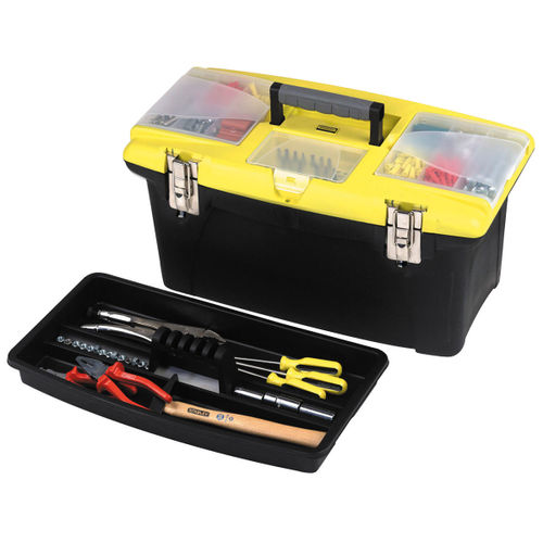 "Stanley 1-92-906 19"" Jumbo Tool Box with 2 Pull Out Organizers, Bit Holder and Metal Latches"