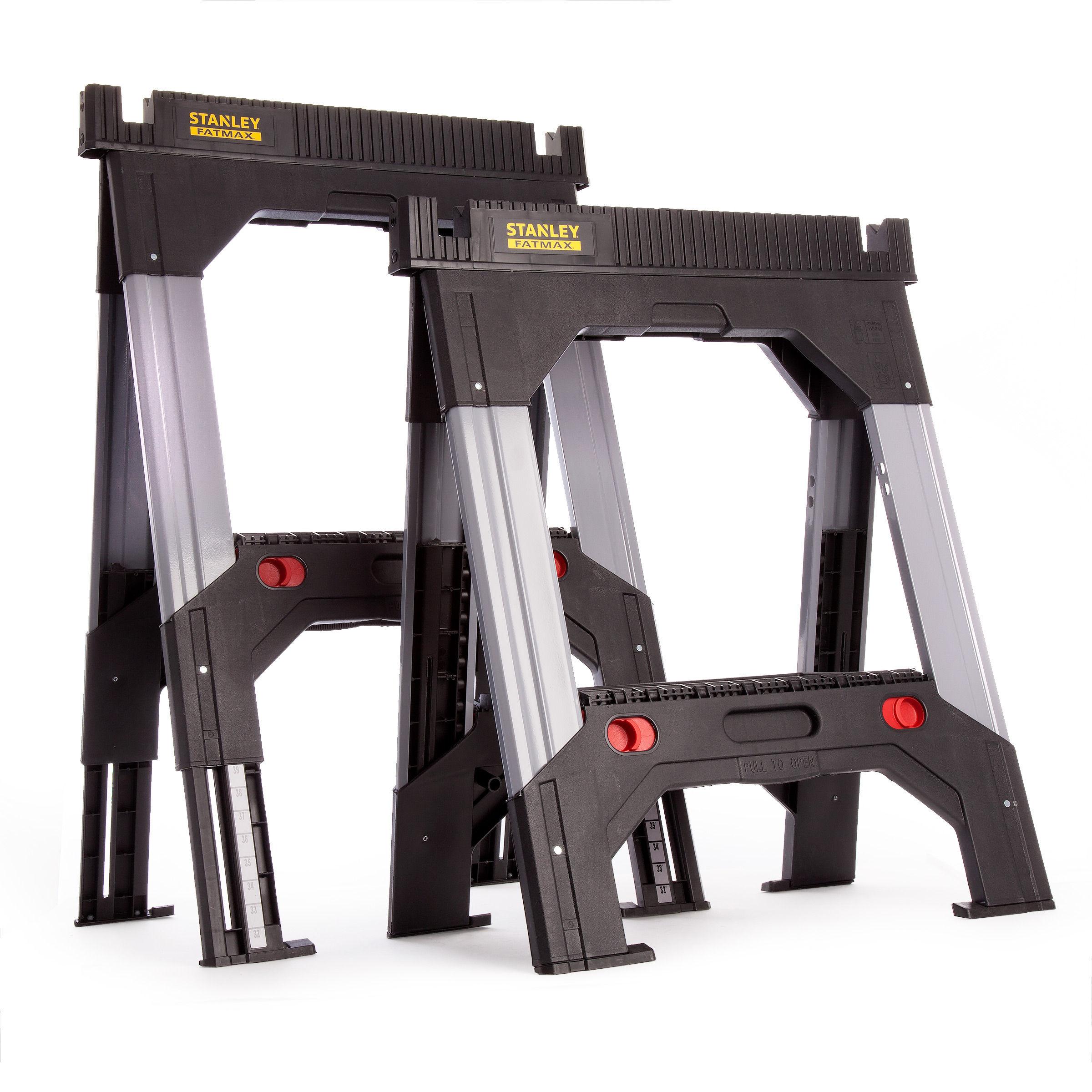 Stanley 1-92-980 Fatmax Aluminium Adjustable Telescopic Saw Horse Twin Pack