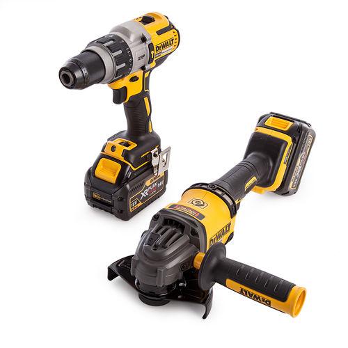 Dewalt DCK2055T2T-GB 18V DCD996 Hammer Drill Driver + DCG414 54V Flexvolt Angle Grinder (2 x 6.0Ah Batteries)