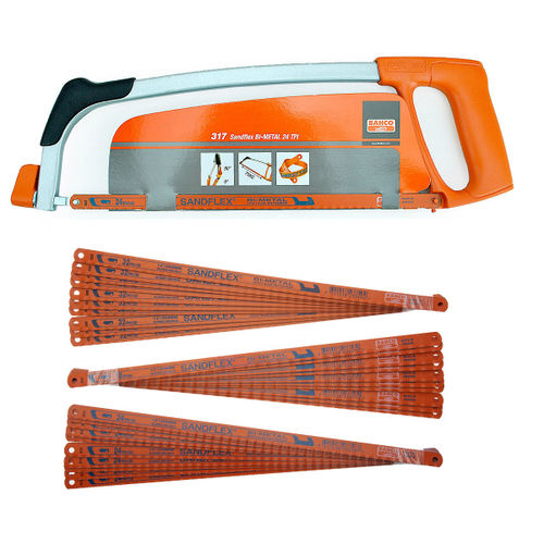 """Bahco 317 12"""" Hacksaw Frame with 1 x 24TPI Blade + 30 Assorted Blades"""