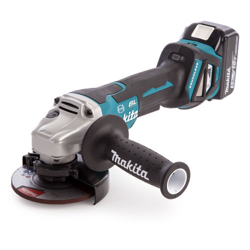 Makita DGA467RTJ 115mm 18V Cordless Angle Grinder (2 x 5.0Ah Batteries)