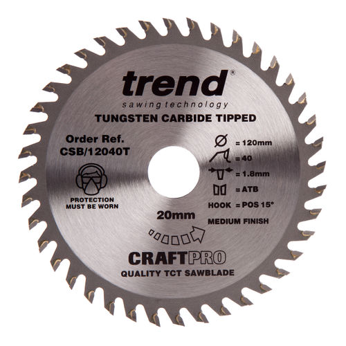 Trend CSB/12040T CraftPro Saw Blade Combination 120mm x 40 Teeth