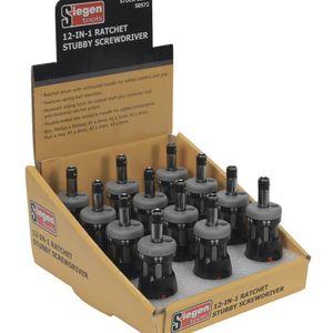 Siegen S0572 Ratchet Stubby Screwdriver Set 12-in-1 Display Box Of 12
