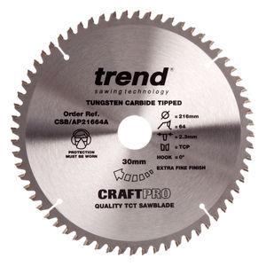 Trend Sawblade CSB/AP21664A Craft Saw Blade Aluminium And Plastic 216mm x 64 Teeth x 30mm