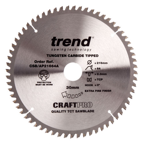 Trend Sawblade CSB/AP21664A Craft Saw Blade Aluminium And Plastic 216mm x 64 Teeth x 30mm