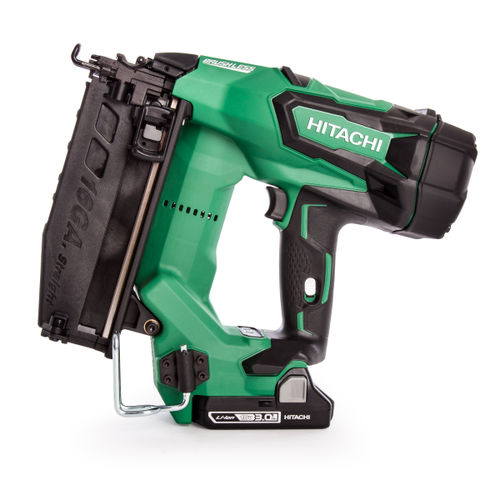 Hitachi NT1865DBSL/JX 16GA Brushless Straight Finish Nailer (2 x 3.0Ah Batteries)