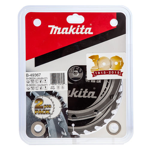 Makita B-49367 Makforce TCT Saw Blade Twin Pack for Wood 190mm x 30mm x 12 and 24 Tooth