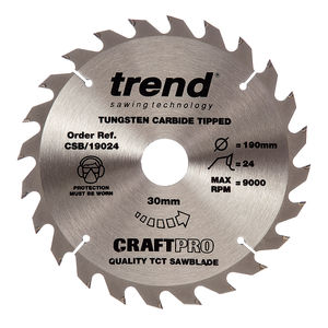 Trend CSB/19024 CraftPro Saw Blade 190mm x 24 Teeth x 30mm