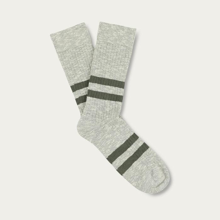 Grey/Khaki Melange Stripe Socks | Bombinate