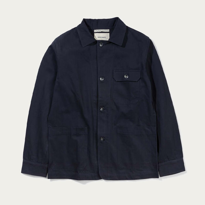 Navy Herringbone Utility Jacket | Bombinate