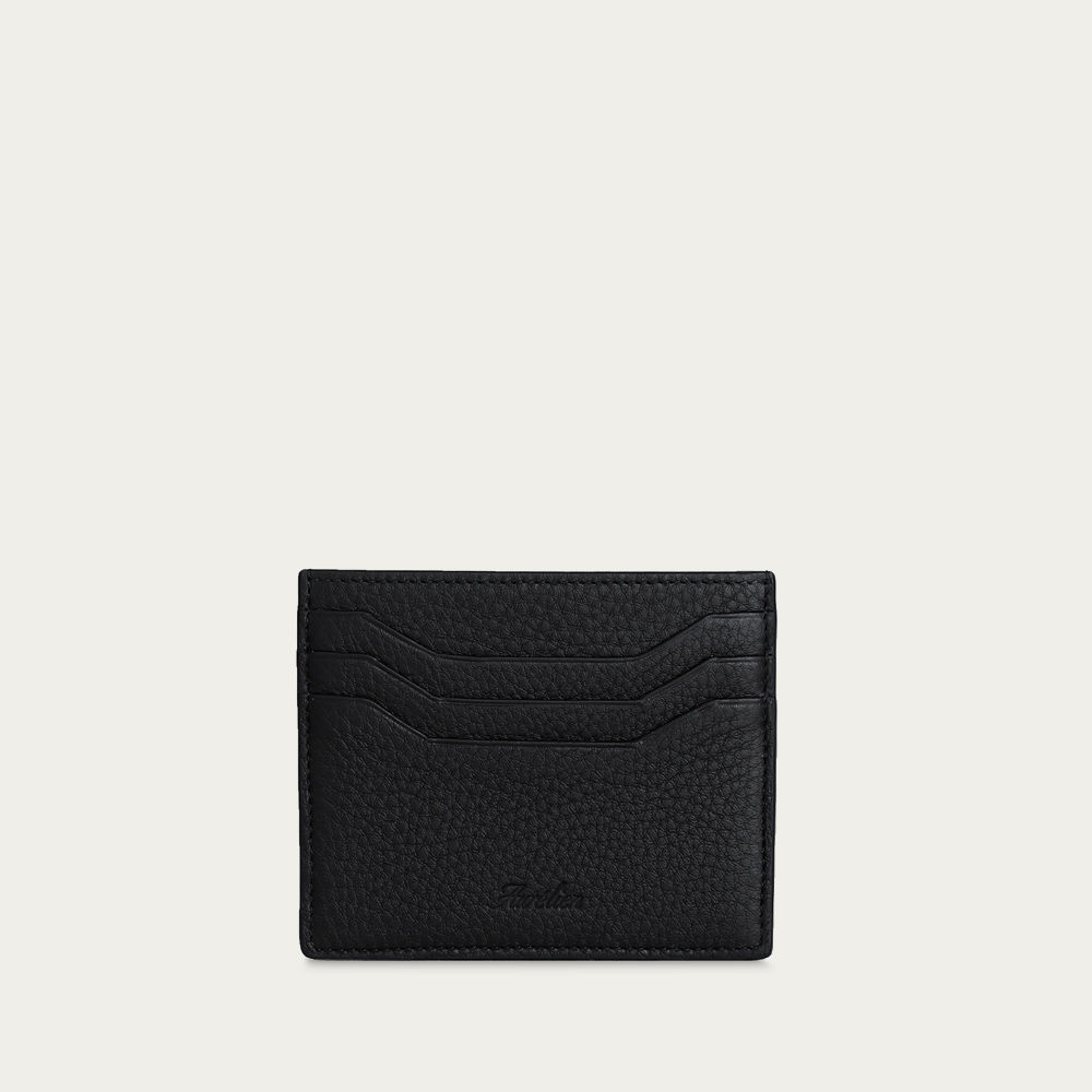 Black Grained Leather Cardholder | Bombinate