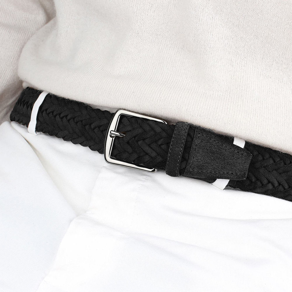 Black Woven Suede Belt | Bombinate