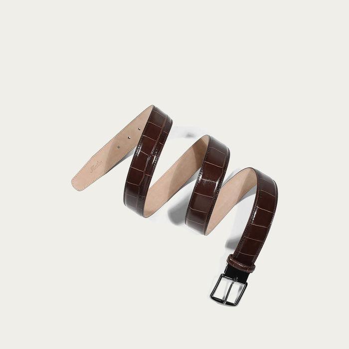 Brown Crocodile Leather Belt | Bombinate