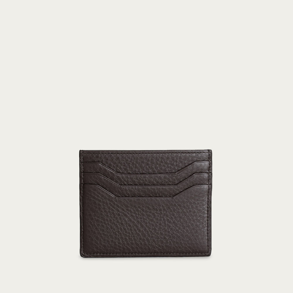 Brown Grained Leather Cardholder | Bombinate