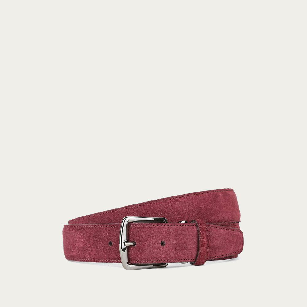 Burgundy Suede Leather Belt | Bombinate