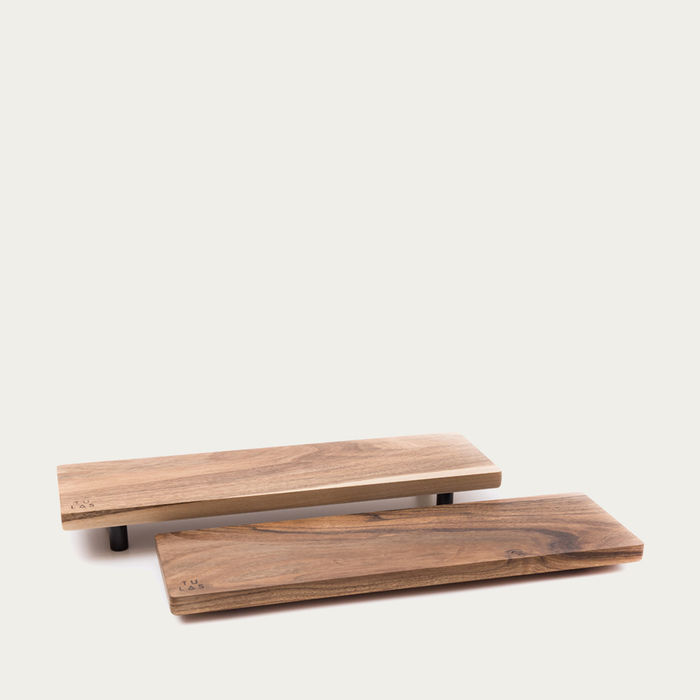 Warm Walnut + Granite Low Oste Serving Pieces Longy | Bombinate