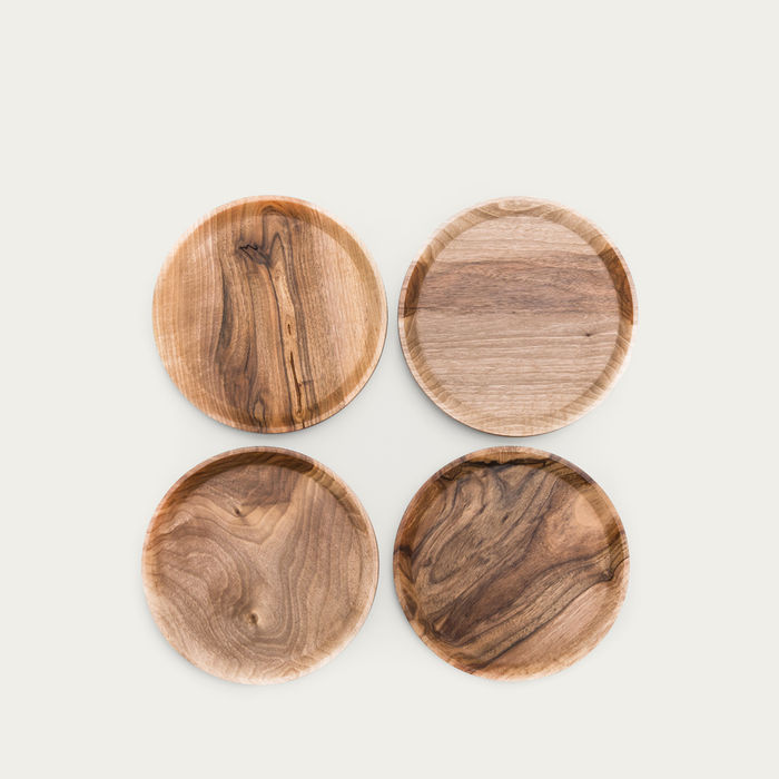 Warm Walnut + Granite Low Oste Serving Pieces Circle | Bombinate