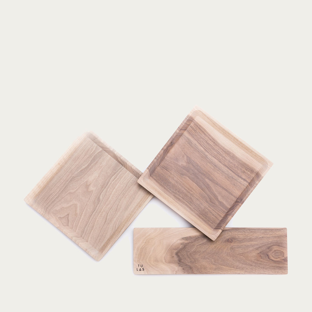 Cold Walnut + Limestone Low Oste Serving Pieces Square | Bombinate