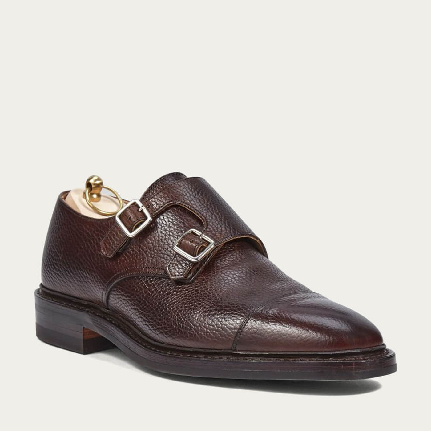 Dark Brown Grain Leather Double Monk Shoes With Dainite Sole   Bombinate